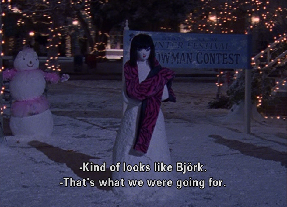 Bjork-Snowwoman-Bracebridge-Dinner-Gilmore-Girls